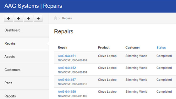 Repairs Management System for AAG Systems
