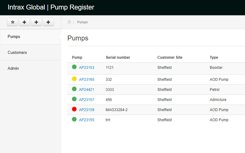 Pump Register list page